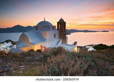Church above Plaka village, Milos island, Greece.