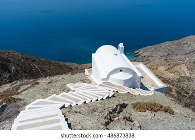 Church above the sea in the mountain of Olympos village, Karpathos Island, Greece