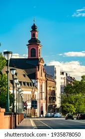 Church across the Old Bridge in Frankfurt, Germany