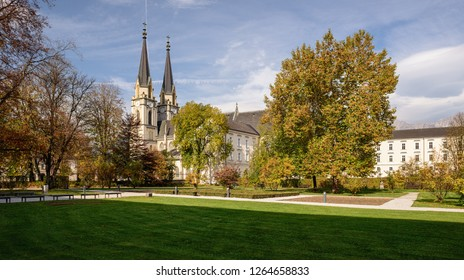 Church of the Admont Abbey in the neo-Gothic style on a sunny autumn day. Town of Admont, state of Styria, Austria.