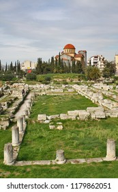 Church of Agia Triada (Holy Trinity) and remains of ancient cemetery in the Kerameikos Quarter of Athens (Greece).