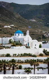 The church of Agios Konstatinou, a traditional cyclades church with blue dome collocated in the town of Paroikia, Paros island, Cyclades arcipelago, Greece - Image