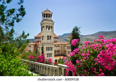 Church Agios Nectarios on island Aegina, Greece - religion background