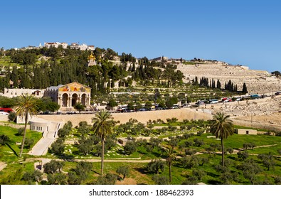 Church of All Nations and orthodox church on Mount Of Olives. Jerusalem, Israel.