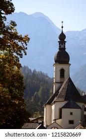 Church and Alpine landscape, Ramsau, Germany