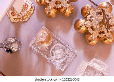 Church altar with chalices and grail during a marriage or wedding ceremony. The table in a Christian church at which the water and wine are consecrated in communion services. Flat lay photography.
