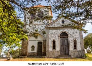 Church among  trees at summer time, in figueiro dos vinhos, portugal.
