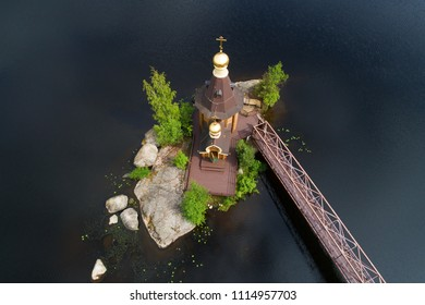 Church of the apostle Andrew the First-Called on the Vuoksa River. View from height, aerial photography. Leningrad Region, Russia