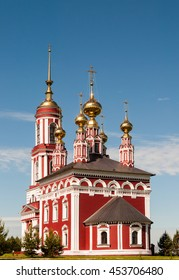 Church of Archangel Michael in Suzdal, Russia. It is five-domed russian orthodox church with a bell tower. Built in 1769.