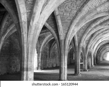 Church arches in soft black and white