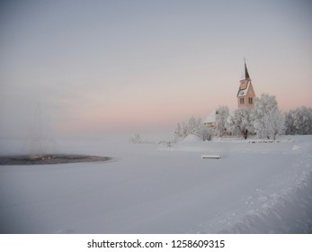 church in Arjeplog in winter