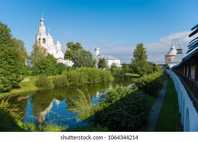 Church of the Ascension and bell tower of Saviour Priluki Monastery on a sunny day  near Vologda, Russia.