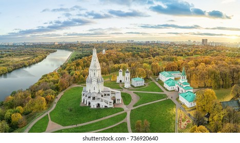 Church of the Ascension in Kolomenskoye park in autumn season (aerial view), Moscow, Russia