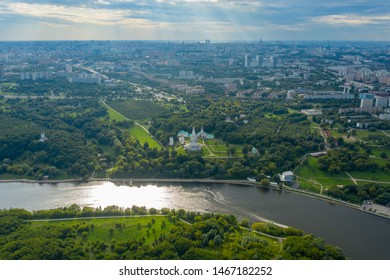 Church of the Ascension in Kolomenskoye park in summer aerial view, Moscow, Russia.