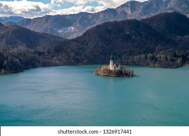 Church of the ascension on the island in lake bled seen from above
