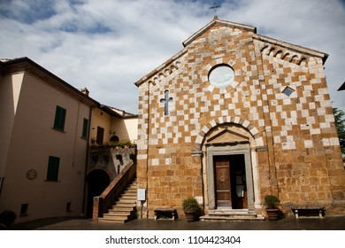 church in Asciano, Tuscany, Italy