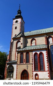 Church of the Assumption of  Blessed Virgin Mary in Banska Bystrica. Exterior against the blue sky. Slovakia. Tourist attraction, tourist destination