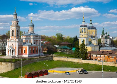 Church of Assumption of Holy Virgin, Church of Prophet Elijah and Holy Trinity Church - picturesque ensemble of three parish temples in old Russian city of Serpukhov