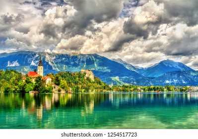 Church of the Assumption of Mary on the island on Bled Lake in Slovenia