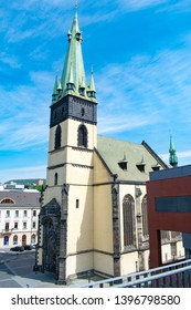 The Church of the Assumption in Usti nad Labem (Czechia) with its leaning tower due to WW2 bombing
