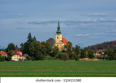 Church of the Assumption of the Virgin Mary is a Roman Catholic church in the village of Troubsko in the district Brno-venkov. It is protected as a cultural monument of the Czech Republic. - Shutterstock ID 1524151388