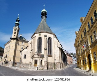 Church in Banska Stiavnica, Slovakia. Mining town Banska Stiavnica is one of the most interesting towns in Slovakia and it is inscribed in UNESCO list.