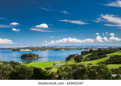 Church Bay, Hauraki Gulf, Waiheke Island, New Zealand, view from Cable Bay vineyards
