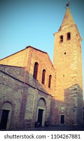 Church and Bell Tower of Saint Euphemia in the town of Grado in northern Italy with vintage effect