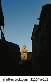 Church bell tower in spanish mountain village