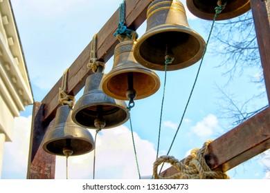 Church bells close up .