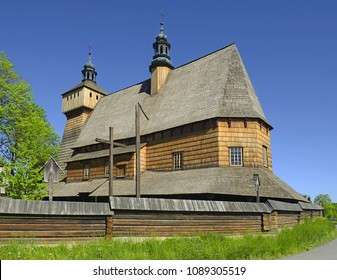 Church of the Blessed Virgin Mary and Archangel Michael in Haczow - largest wooden Gothic church in Europe and the oldest wooden church in Poland. UNESCO World Heritage