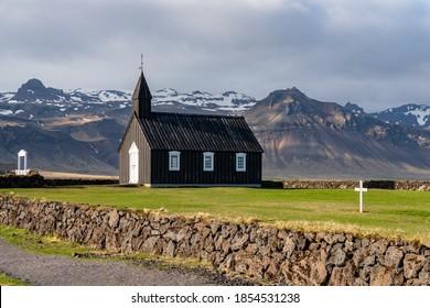 Church Budir in Budahraun lava fields on south coast of Snæfellsnes peninsula at western Iceland also known as Búðakirkja , Búðir