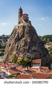 Church build on a narrow rock in Le Puy-en-Velay in south east France