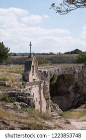 Church built into the rock in the cave city of Matera (Sassi di Matera), Basilicata Italy. Matera has been designated European Capital of Culture for 2019.