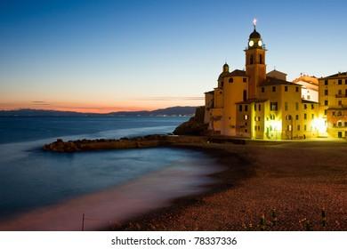 The church of Camogli by night