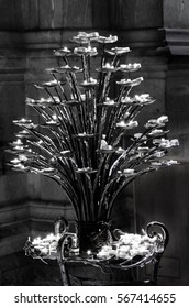 Church candle holder in black and white