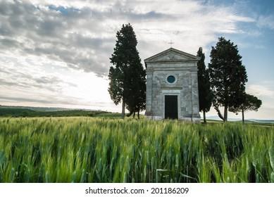 Church Cappella di Vitaleta close to Val d'Orcia in Italy, Tuscany