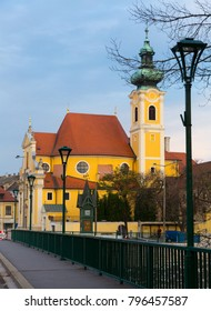 Church of the Carmelites is religion landmark of Gyor in Hungary outdoors.