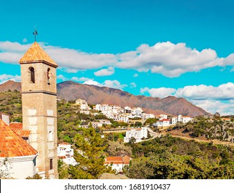 Church in Casares in the mountains in Andalusia