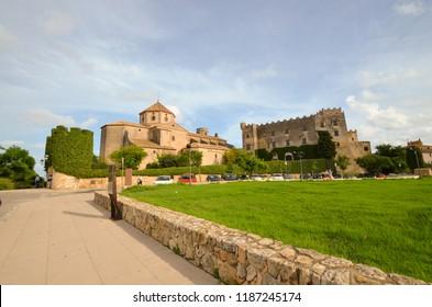 Church and Castle of Altafulla village at Tarragona province - Catalonia - Spain