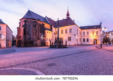 Church and castle at Square in town Chomutov, Czech republic