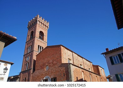 The church in the center of the small town of Montecarlo in Tuscany, Italy