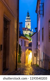 The church in Cesky Krumlov at night