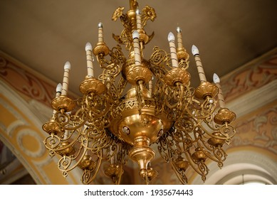 Church chandelier in the center of the church. The Orthodox Church.