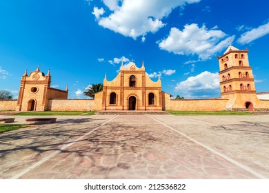 Church, chapel, and bell tower of the UNESCO World Heritage Jesuit Mission in San Jose de Chiquitos, Bolivia