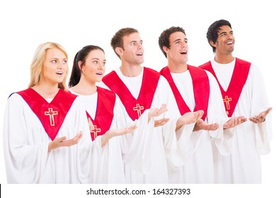 church choir singing on white background