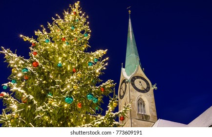 Church and Christmas Tree in Zurich, Switzerland