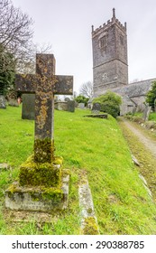 Church in cornwall near polruan. With Cross and graves