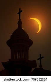 Church with Cross and Solar Eclipse.