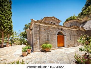 Church dedicated to Myrrhbearers at Monastery Monastery of Saints Michael and Gabriel - Kremaston (Kremasti, Kremasta) Crete, Greece. The monastery Kremaston was founded in the 16th century (1593)